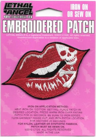 Lethal Angel Ruby Skull Lips Biker Patch | Patches