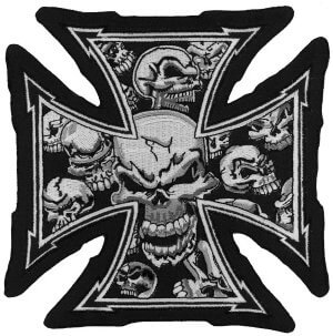 Lethal Threat Grey Skull Cross Biker Patch | Patches