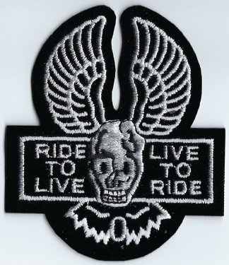 Ride To Live Live To Ride Skull & Wings | Patches