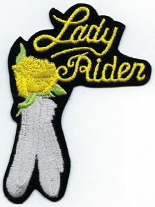 Lady Rider With Rose & Feather | Patches