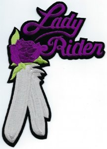 Lady Rider With Rose & Feather   Patches