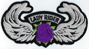 Lady Rider With Rose & Wings   Patches