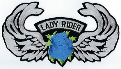 Lady Rider With Rose & Wings | Patches