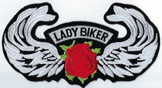 Lady Biker With Rose & Wings | Patches