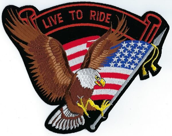 Eagle & Flag With Live To Ride | Patches