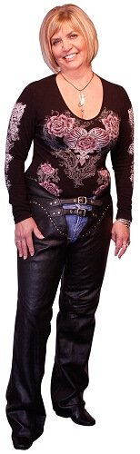 Ladies Double Belted Chaps with Studs | Clothing