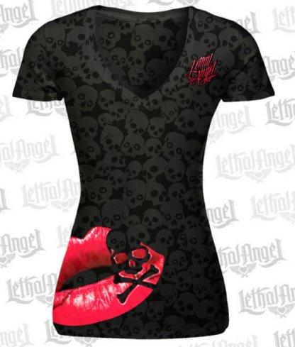 Lethal Angel Lip Skull T-Shirt | Clothing