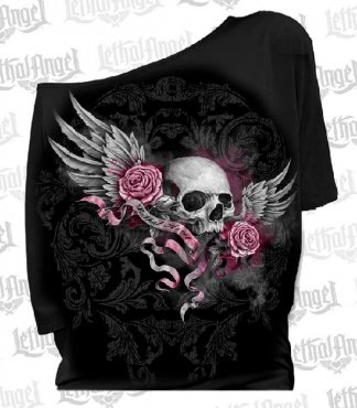 Lethal Angel Skull Banner Shirt | Clothing