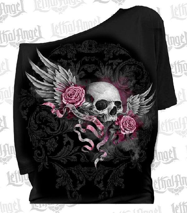 Lethal Angel Skull Banner Shirt   Clothing