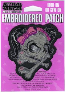 Girl Skull Pink   Patches