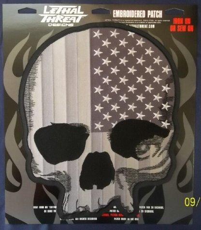 USA Skull Black & White   Patches