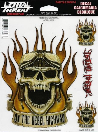 Rebel Highway Skull Decal | Motorcycle Accessories